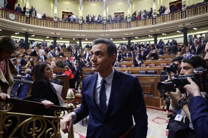 Spain's interim Prime Minister Pedro Sanchez leaves the Spanish Parliament in Madrid, on Jan 5, 2020.
