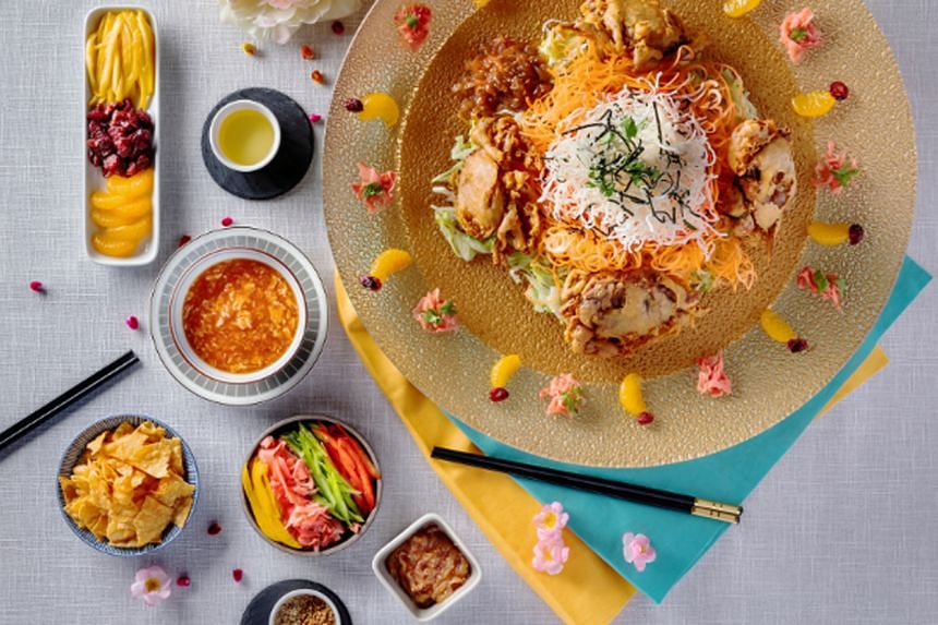 Prosperity Yu Sheng With Deep-fried Soft Shell Crab In Chilli Crab Sauce.