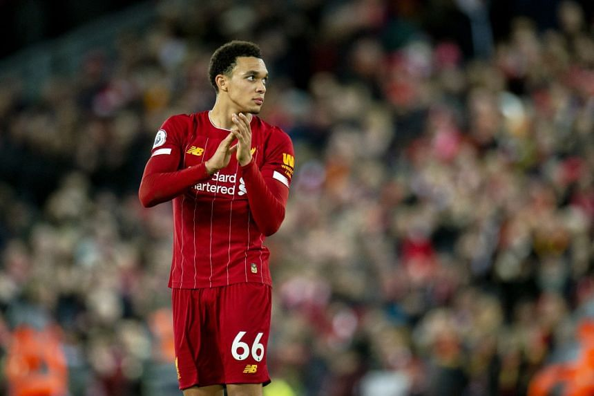 Liverpool's Trent Alexander-Arnold reacts after the English Premier League soccer match in Britain on Jan 2, 2020.