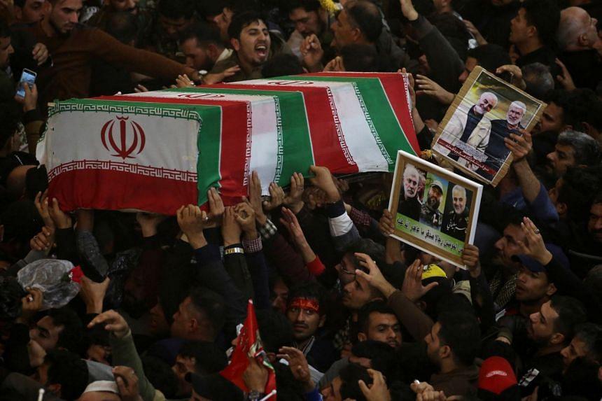 Mourners attending the funeral procession of Iranian Major-General Qassem Soleimani in Kerbala, Iraq, on Jan 4, 2020.