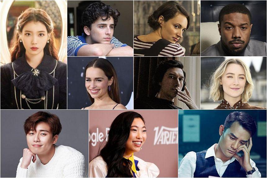 Stars to watch in 2020 (first row, from left) IU, Timothee Chalamet, Phoebe Waller-bridge, Michael B. Jordan, (second row) Emilia Clarke, Adam Driver, Saoirse Ronan, (third row) Park Seo-joon, Awkwafina and Wang Kai.