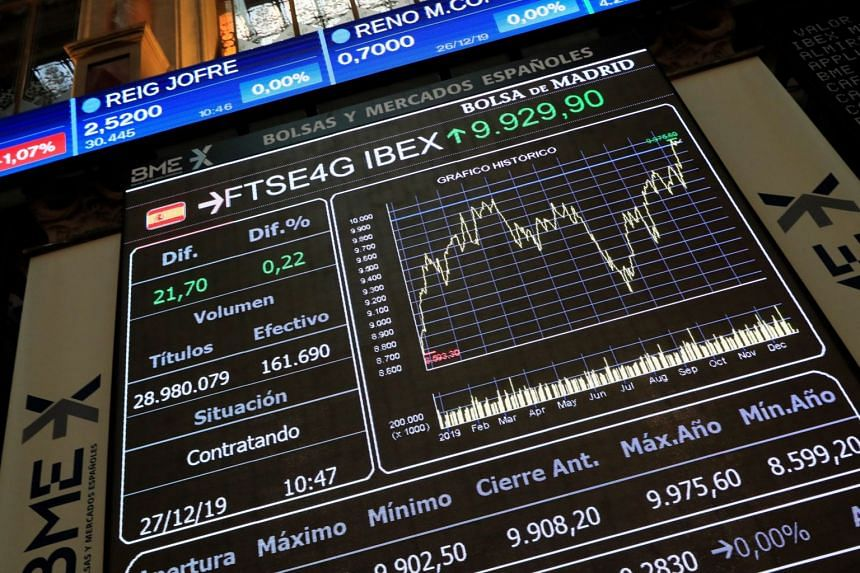Figures and charts seen on a screen at the Madrid Stock Exchange in Spain, on Dec 27, 2019.