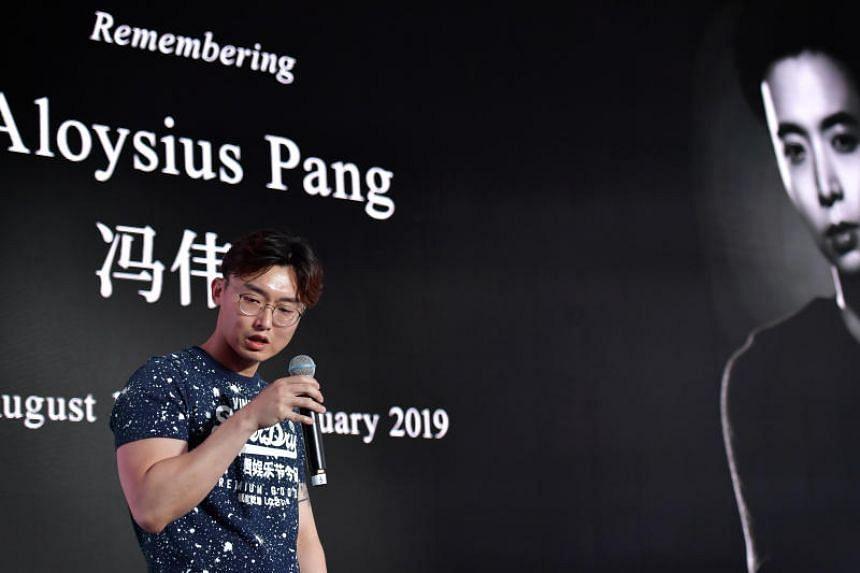 Aloysius Pang's elder brother Jefferson speaking at a memorial service on Jan 5, 2020.