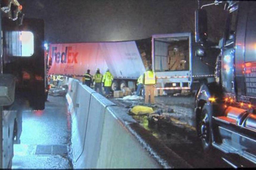 Emergency crews responding to a fatal crash on the Pennsylvania Turnpike in Mount Pleasant, Pennsylvania, on Jan 5, 2020.