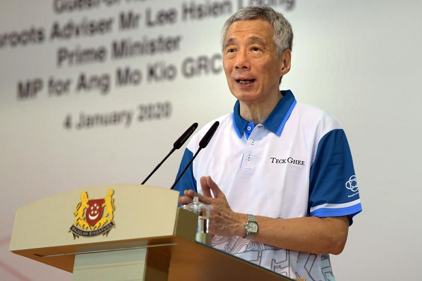 PM Lee Hsien Loong speaking at the Teck Ghee CCC Bursary and Edusave Awards Presentation Ceremony at Townsville Primary School on Jan 4, 2020.