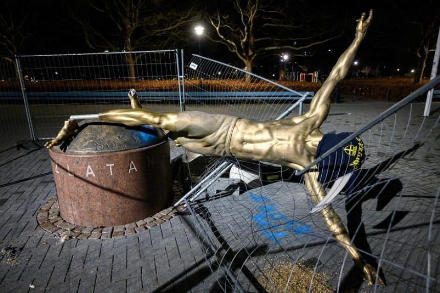 The staue of Swedish football player Zlatan Ibrahimovic in Malmo, Sweden is seen after being damaged overnight on Jan 5, 2020.