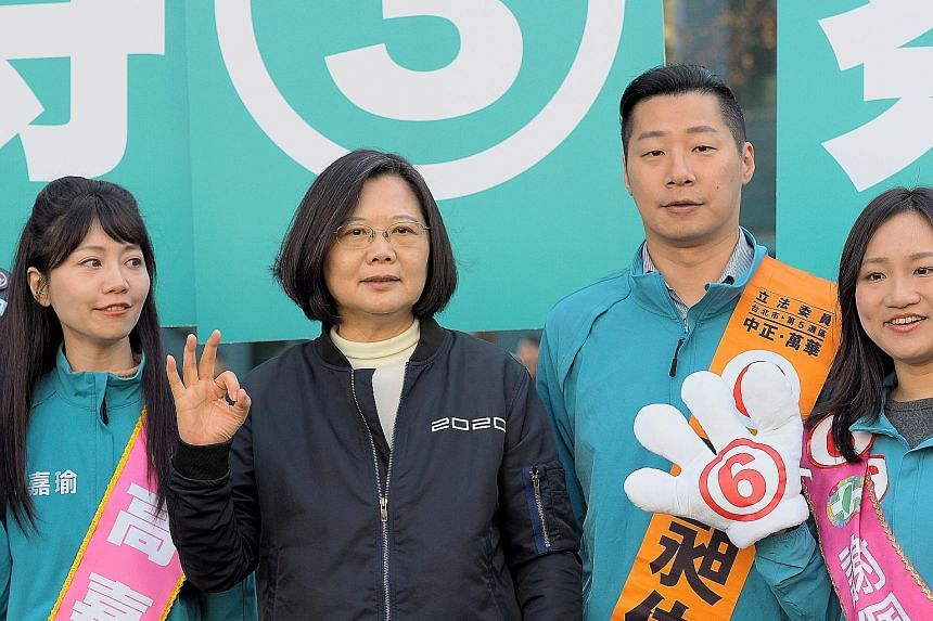 """President Tsai Ing-wen at an election campaign event in Taipei last week. Following her win in the presidential polls in 2016, the BBC called Taiwan """"the place to be a woman in politics"""". But the current election campaign has shown that sexism and mi"""