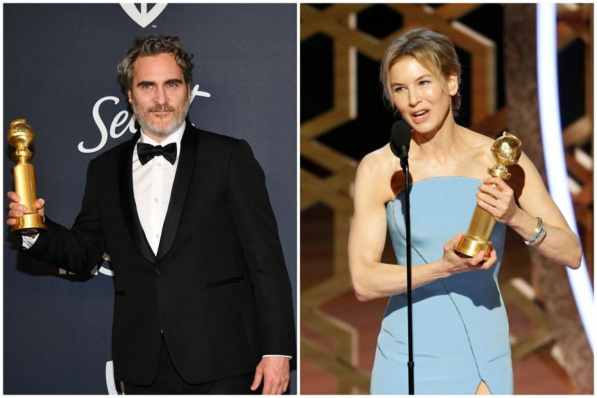 Winners of Best Actor and Actress in a Movie (Drama) Joaquin Phoenix (left) and Renee Zellweger.