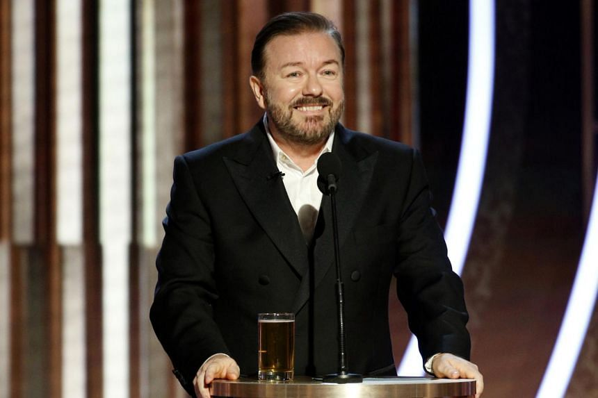 Ricky Gervais hosts the Golden Globe Awards at the Beverly Hilton Hotel in Beverly Hills, California, on Jan 5, 2020.
