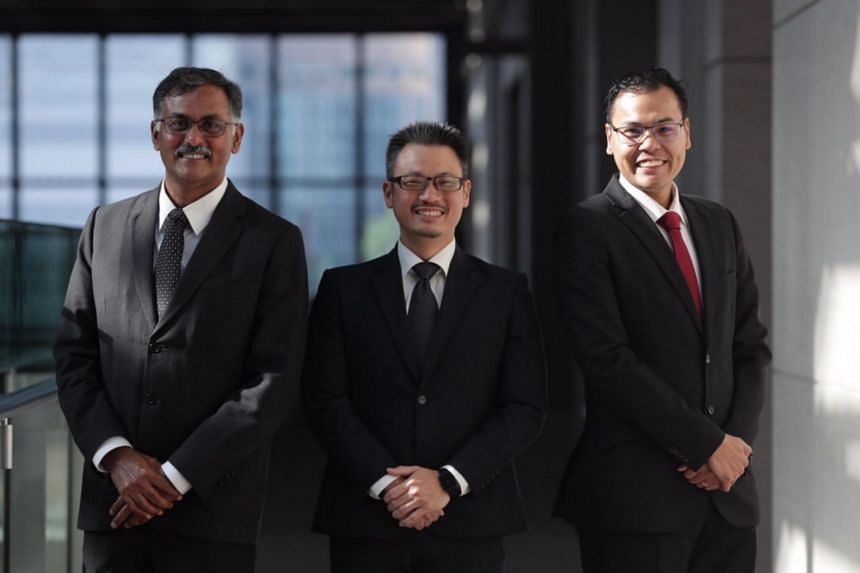 (From left) Newly appointed Senior Counsel Murali Pillai, Jason Chan and Mohamed Faizal Mohamed Abdul Kadir.
