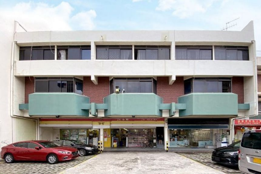 Green Court is a freehold, three-storey commercial and residential development comprising three ground-floor shops and six two-storey walk-up apartments.
