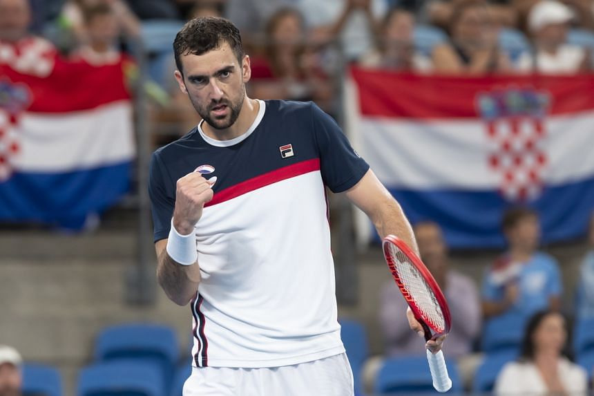 Marin Cilic (above) set up Croatia's victory over Poland with a 7-6 (10-8), 6-4 win over Kacper Zuk.