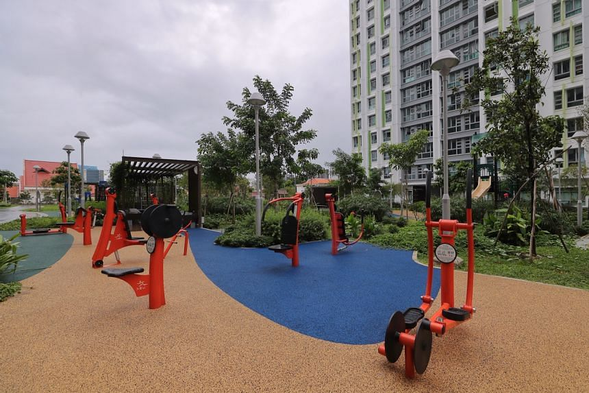 Alkaff Vista: An outdoor fitness station surrounded by greenery on the ground floor in Alkaff Vista.