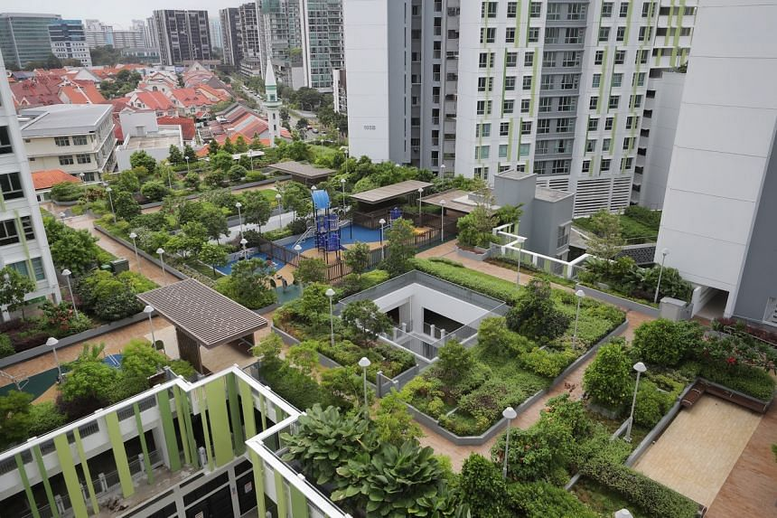 All residential blocks in Alkaff Vista are directly connected to a landscaped roof garden which forms a central community space for residents.