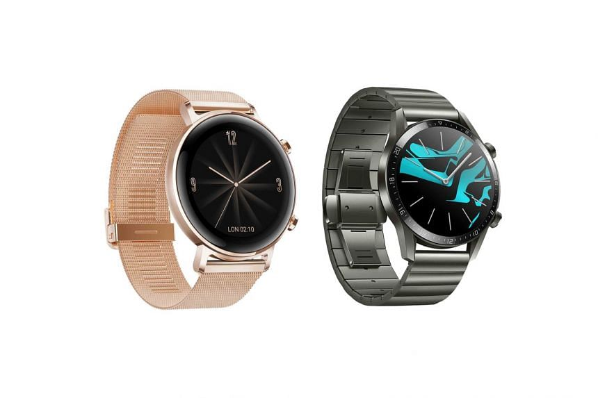 Huawei is adding two new stylish designs from its Watch GT 2 range in Refined Gold (left) and Titanium Grey (right). PHOTO: HUAWEI