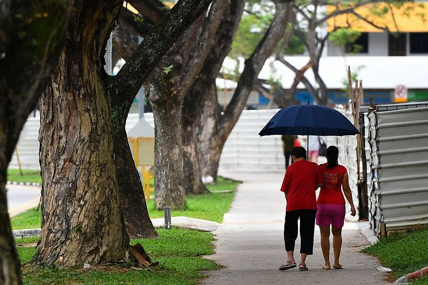 An elderly woman with her helper along Bedok North Road.