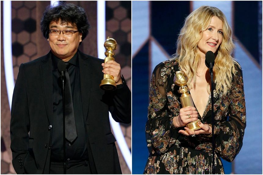 Parasite director Bong Joon-ho (left) and Marriage Story actress Laura Dern accepting their awards.