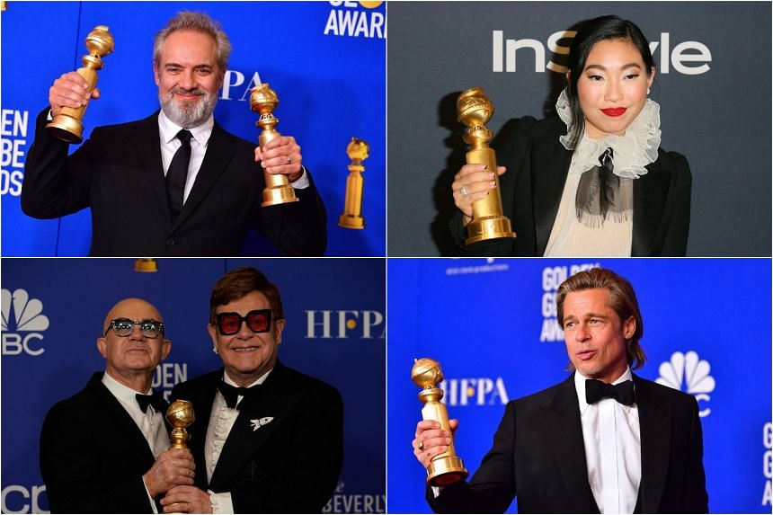 (Clockwise from top left) Director Sam Mendes, actress Awkwafina, actor Brad Pitt and musicians Elton John and Bernie Taupin, who picked up awards at this year's Golden Globes.