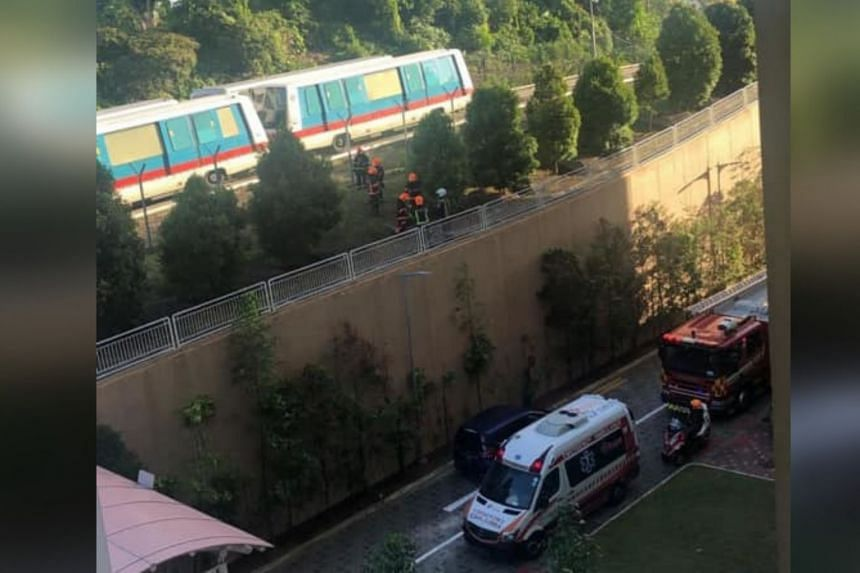 A photo shared by Ms Mary Lee on Facebook shows several SCDF personnel at a site with two LRT trains in the middle of the tracks during the morning peak hour on Jan 6.
