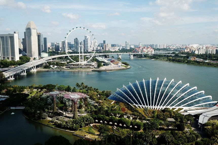 The Singapore skyline as seen from Gardens by the Bay.