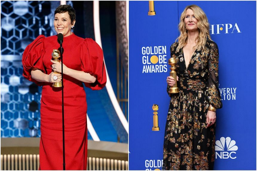 Olivia Colman was named Best Actress in a Television Series - Drama for The Crown while Laura Dern won Best Supporting Actress in a Motion Picture for Marriage Story.