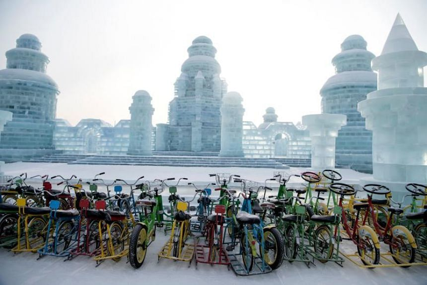 """Snow bicycles"" are parked at the Harbin International Ice and Snow Festival in Harbin, in China's northeast Heilongjiang province, on Jan 6, 2020."