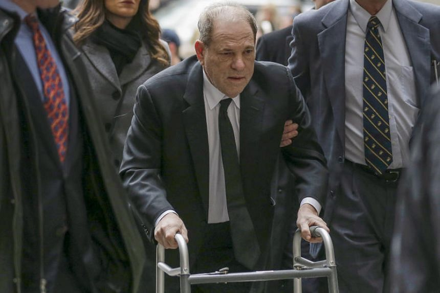 Harvey Weinstein, using a walker following a recent back surgery, arrived at a New York court sporting a dark suit and dishevelled hair.