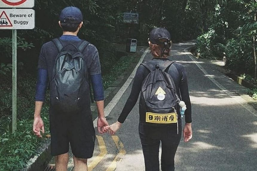 A backview of local actress Jayley Woo and her late boyfriend Aloysius Pang, as uploaded by Woo on Instagram.
