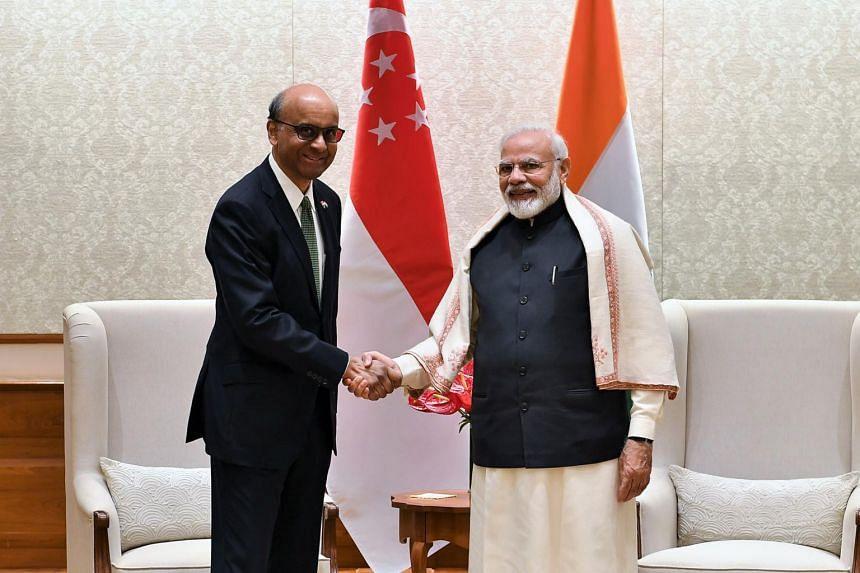 Senior Minister Tharman Shanmugaratnam calls on India's Prime Minister Narendra Modi in New Delhi on Jan 6, 2020.