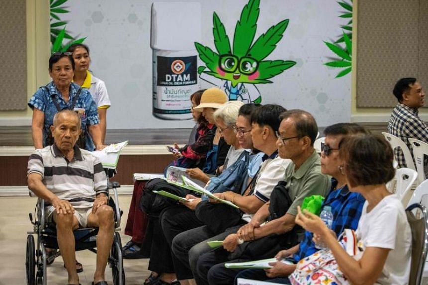 Patients wait to register for cannabidiol oil treatment during the opening of a cannabis clinic at the Department of Development of Thai Traditional and Alternative Medicine in Bangkok on Jan 6, 2020.