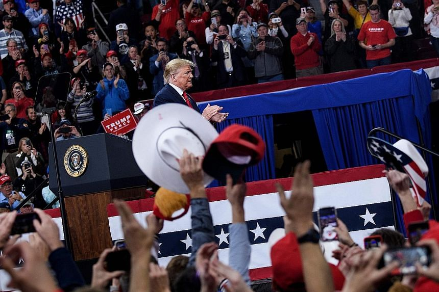 US President Donald Trump at a rally last month at the Giant Centre in Hershey, Pennsylvania. Markets will increasingly focus on the US presidential race as Democratic primaries begin and the general election in November draws closer. Several promine