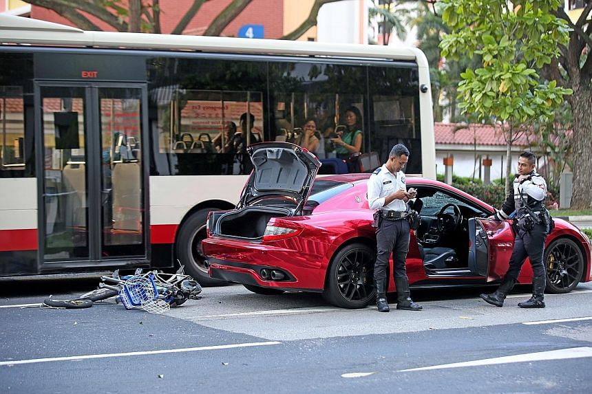 Madam Ong Soh Boey died on Sunday in an accident in Cantonment Road involving two cars, including a Maserati. She was on her way to her provision shop on her power-assisted bicycle.