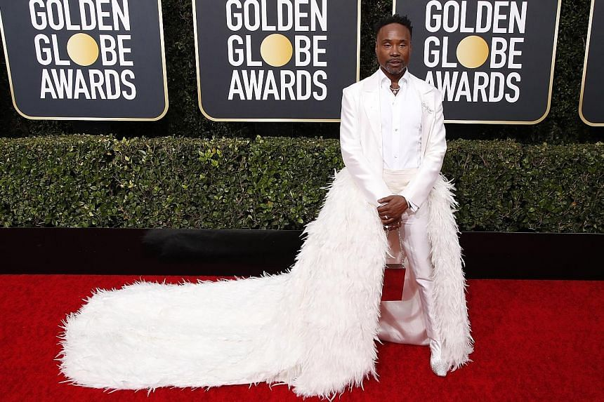 BILLY PORTER (above): The man who turned up for the Oscars in a tuxedo gown brought the magic once more for the Golden Globes in this custom feathered jacket by Alex Vinash, with high-heeled boots from Jimmy Choo. Porter, the lead star of Pose, looke