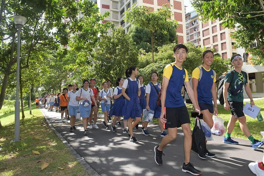 Eunoia Junior College students performing a dance yesterday at Bishan Active Park, as part of an event to mark the JC's move from its former Mount Sinai Road campus to Sin Ming Avenue in Bishan. The new campus cost $100 million to build and links the