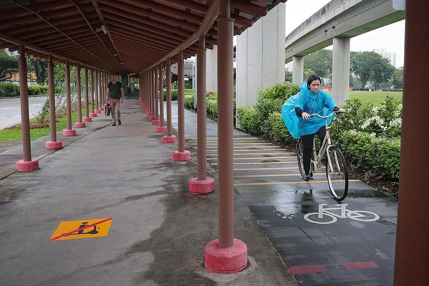 """Work is also ongoing to improve markings on footpaths and distinguish them from cycling paths, with logos indicating """"No PMD"""" to be painted at selected intersections of footpaths and cycling paths. ST FILE PHOTO"""