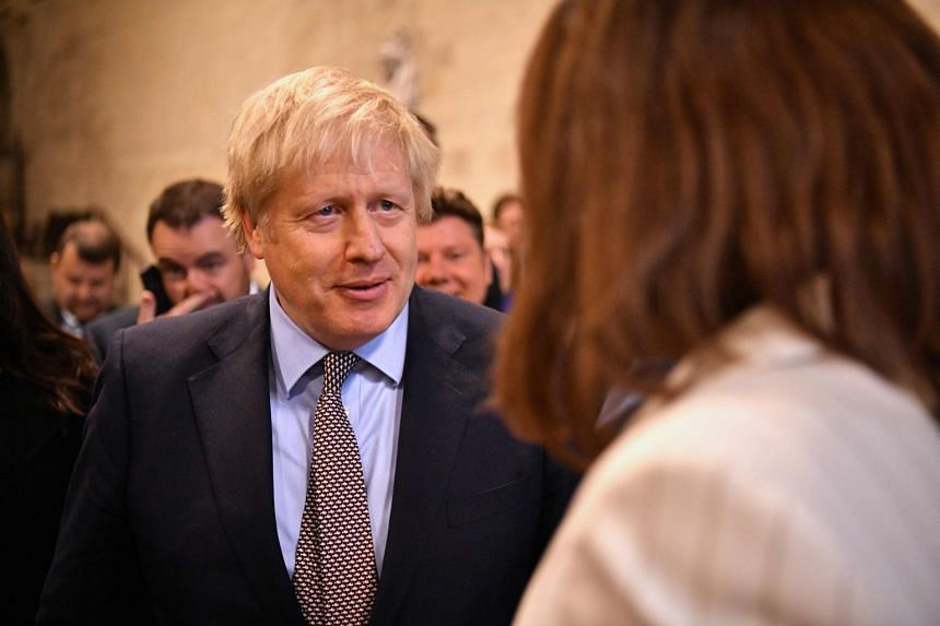 Boris Johnson speaking to newly-elected Conservative MPs in the Palace of Westminster, Dec 16, 2019.