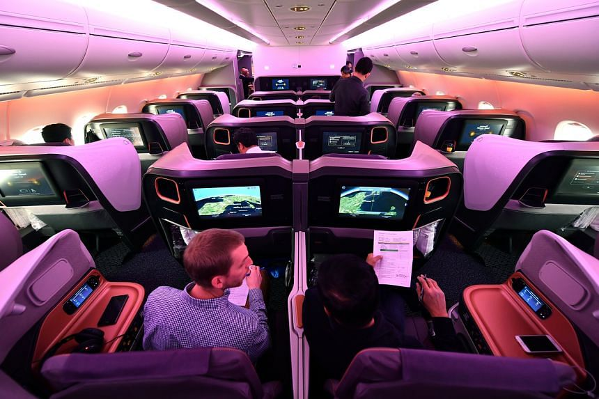 Passengers in business class on a Singapore Airlines A380 flight. The strongest growth in bookings was recorded by travellers flying premium economy to the United States.