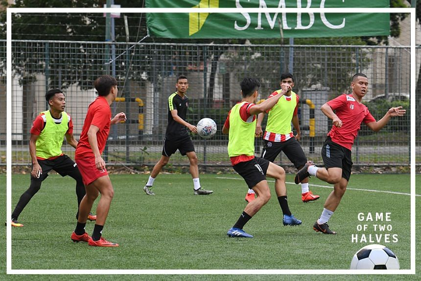 Warriors FC players in a training session at Jurong Esat Stadium. Warriors have been instructed to sit out the upcoming season of the Singapore Premier League but are disputing the decision