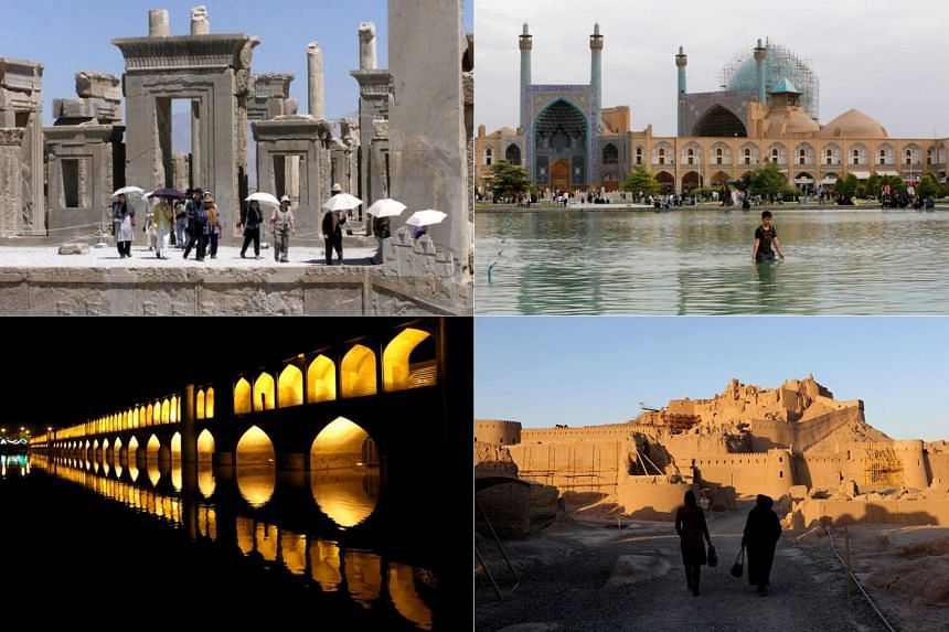 (Clockwise from top left) Persepolis in south-west Iran, Naqsh-e Jahan Square in Isfahan, the citadel of Bam and the Si-o-se-pol bridge over the Zayandeh Rud river in Isfahan.
