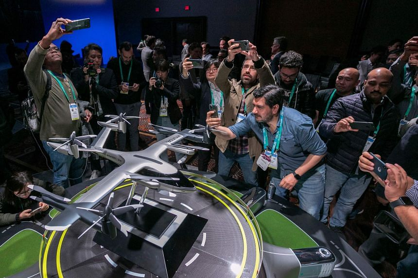 A model of the S-A1 electric vertical takeoff and landing aircraft is shown at the Hundai news event in Las Vegas, Nevada, on Jan 6, 2020.