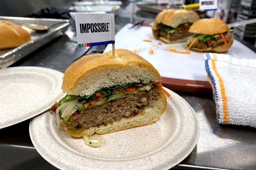 A banh mi sandwich made with a plant-based Impossible Pork patty at the Impossible Foods headquarters in US on Dec 19, 2019.