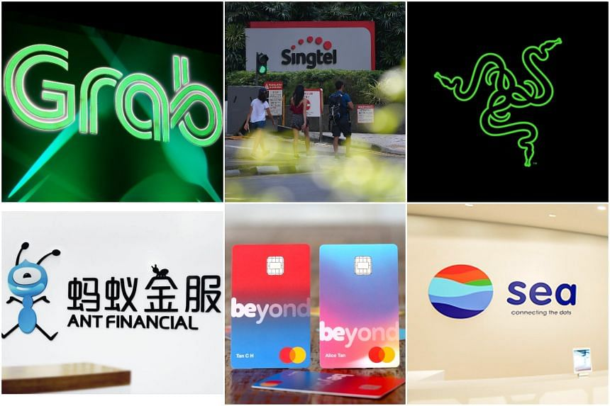 (Clockwise from top left) Grab, Singtel, Razer, Sea, Beyond and Ant Financial are among a list of the contenders who have submitted their bids.