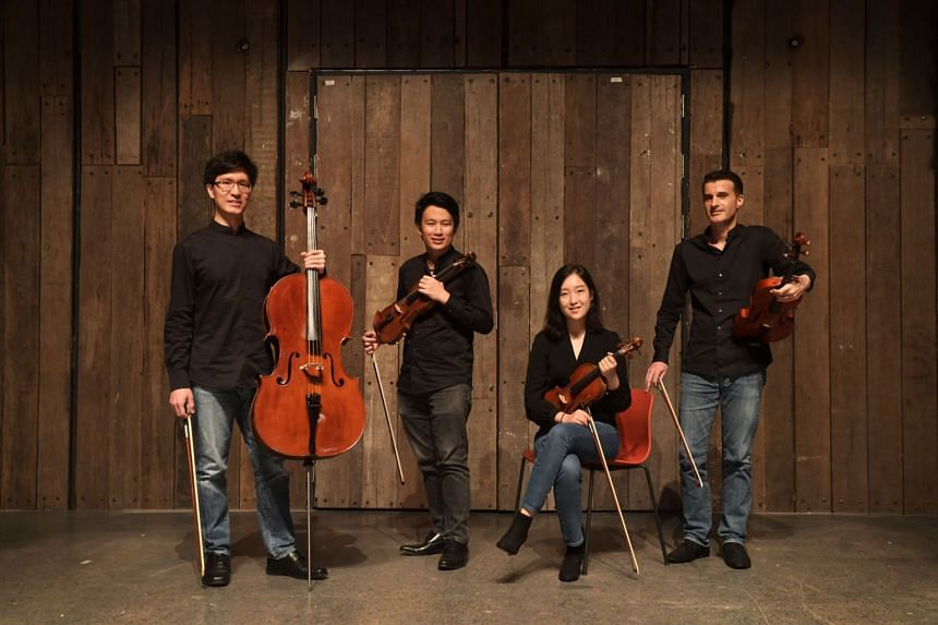 The Concordia Quartet is made up of four prize-winning musicians (from left) Theophilus Tan (cello), Edward Tan (violin), Kim Kyu Ri (violin), and Matthias Östringer (viola).
