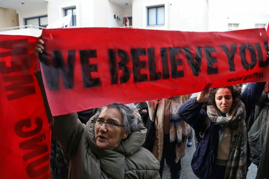 People take part in a demonstration after a British woman was found guilty of faking a rape claim in Paralimni, Cyprus, on Jan 7, 2020.