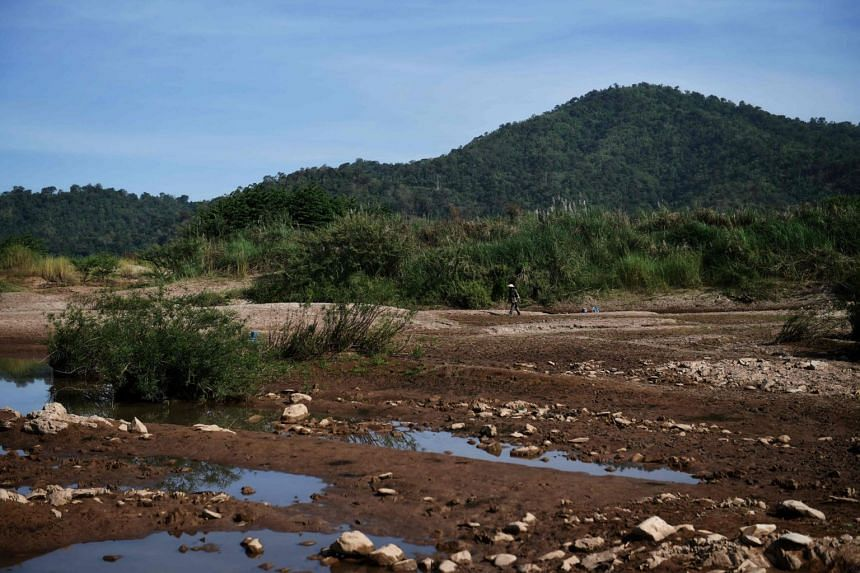 A photo taken on Oct 31, 2019, shows a depleted Mekong River in Pak Chom district in the north-east Thai province of Loei.