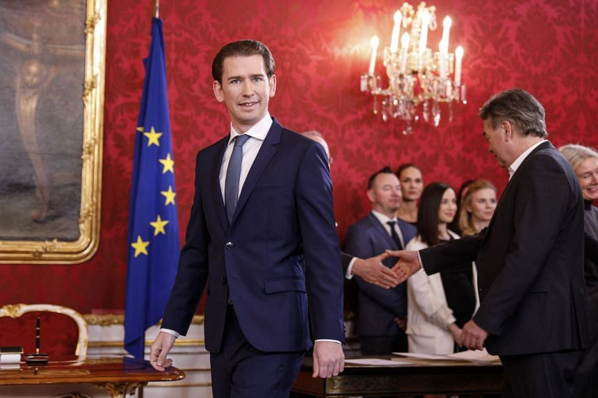 Austrian People's Party leader Sebastian Kurz arrives for the inauguration of the new coalition government at Hofburg Palace in Vienna on Jan 7, 2020.