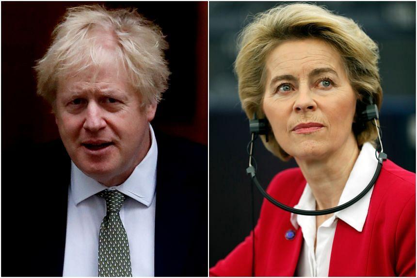 British Prime Minister Boris Johnson is meeting Dr Ursula von der Leyen, the President of the European Commission in London on Jan 8, 2020.