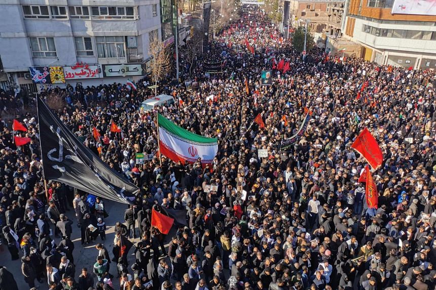 Mourners gather for the burial of slain Iranian commander Qasem Soleimani in his hometown Kerman, in Iran, on Jan 7, 2020.