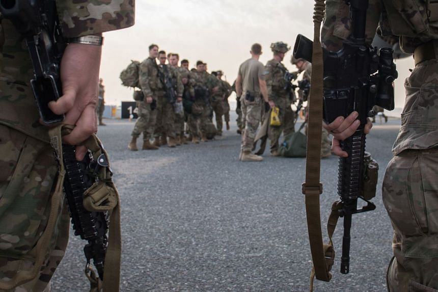 US Army paratroopers from the 82nd Airborne Division arrive at Ali Al Salem Air Base, in Kuwait, Jan 2, 2020.