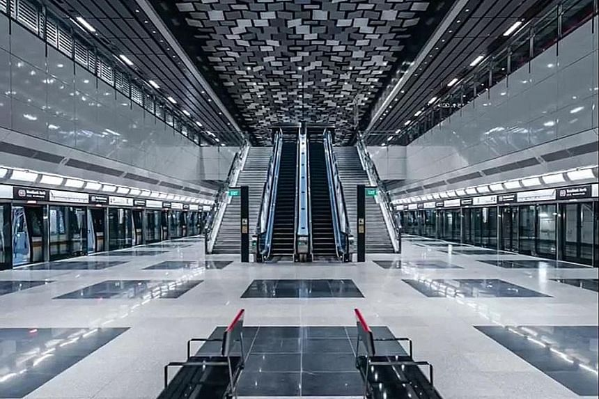 The Woodlands North station on the Thomson-East Coast Line (TEL), which begins operations at the end of this month with the opening of the first three stations. Travel on the TEL will be free from Jan 31 to Feb 2.